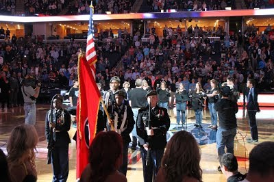 Color Guard Posting The Colors At A Memphis Grizzlies Game